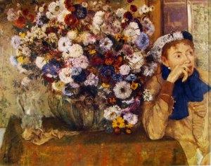 Degas- donna con crisantemi